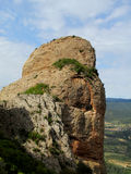 Los Mallos de Riglos unusual shaped red conglomerate rock formation in Spain Stock Image