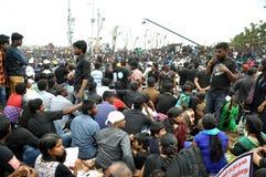 Los manifestantes de Jallikattu se mantienen firmes: el 'We'll va a casa solamente después que el SC levanta la prohibición Imagen de archivo libre de regalías