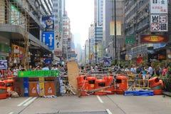 Los manifestantes ocupan el camino en Mongkok en octubre de 2014 Fotografía de archivo
