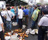 Los manifestantes protestan un nuevo camino polémico Fotografía de archivo libre de regalías