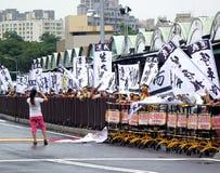 Los manifestantes protestan un nuevo camino polémico Imagen de archivo
