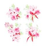 Los manojos florales de la celebración con vector rojo de los arcos diseñan objetos Fotografía de archivo libre de regalías
