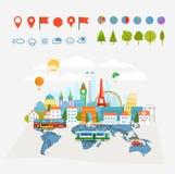 Los mapas de la tierra trazan y diversos edificios y transporte libre illustration