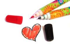 Los marcadores en el fondo del corazón exhausto Fotografía de archivo libre de regalías