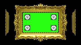 Los marcos adornados del oro giran en un círculo en fondo negro Lazo inconsútil, animación 3D con el seguimiento del movimiento ilustración del vector