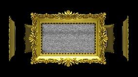 Los marcos adornados del oro giran en un círculo en fondo negro Lazo inconsútil, animación 3D con ruido de la TV y verde libre illustration