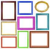 Los marcos coloridos de la colección en el fondo blanco Imagen de archivo libre de regalías