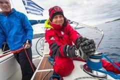 Los marineros participan en la regata 12mo Ellada de la navegación Foto de archivo