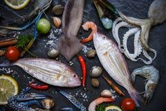 Los mariscos crudos frescos con las hierbas y el limón de las especias en fondo oscuro/la placa de los mariscos con las gambas de imagen de archivo