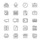 Los materiales de oficina enrarecen iconos Fotografía de archivo