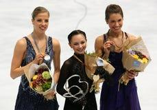Los medallistas en señoras escogen el patinaje Fotografía de archivo