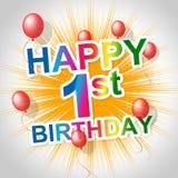 Los medios del feliz cumpleaños primero van de fiesta y alegría Fotografía de archivo