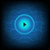 Los medios del juego del botón conectan el fondo abstracto de la tecnología Imagenes de archivo