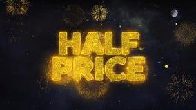 Los medios deseos del texto del precio revelan de tarjeta de felicitación de las partículas del fuego artificial libre illustration