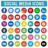 Los medios iconos sociales embalan alrededor stock de ilustración