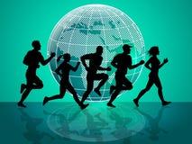 Los medios que activan del ejercicio consiguen ajuste y aptitud ilustración del vector