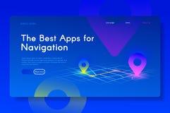 Los mejores Apps para la navegación Isométrico moderno fotos de archivo