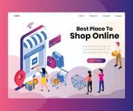 Los mejores lugares a hacer compras concepto isométrico en línea de las ilustraciones stock de ilustración