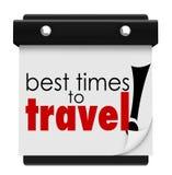 Los mejores tiempos para viajar las palabras hacen calendarios los días máximos Dat del transporte stock de ilustración