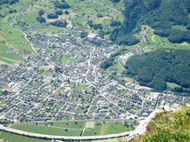 Los melios ven de la montaña de Gonzen Foto de archivo libre de regalías