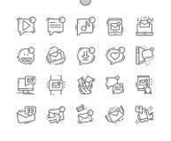 Los mensajes Unread Bien-hicieron la línea fina rejilla 2x de los iconos 30 del vector a mano perfecto del pixel para los gráfico Imágenes de archivo libres de regalías