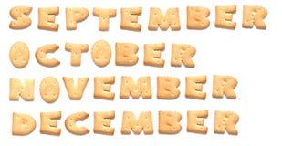 Los meses del año se hacen de galletas Foto de archivo libre de regalías