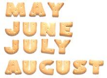 Los meses del año se hacen de galletas Imágenes de archivo libres de regalías