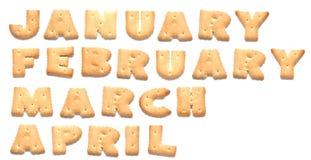Los meses del año se hacen de galletas Imagenes de archivo