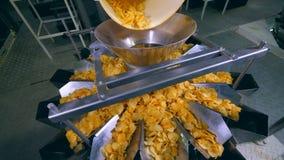 Los microprocesadores fritos se están moviendo a lo largo de los conductos del metal en la fábrica metrajes