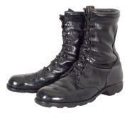 Los militares combaten las botas negras tácticas del ejército aisladas Fotografía de archivo libre de regalías