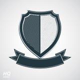Los militares conceden el icono Escudo de la defensa del grayscale del vector con curvy Imagen de archivo