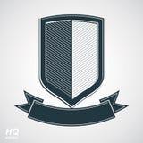 Los militares conceden el icono Escudo de la defensa del grayscale del vector con curvy Fotografía de archivo libre de regalías
