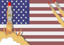 Los misiles nucleares están siendo lanzados por los políticos americanos en f Foto de archivo libre de regalías