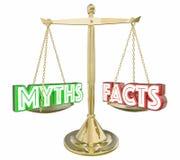 Los mitos contra escala honesta real de la información de los hechos redactan 3d Illustrati Foto de archivo