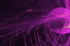Los modelos abstractos en fondo oscuro con las líneas púrpuras curvan partículas imagen de archivo libre de regalías