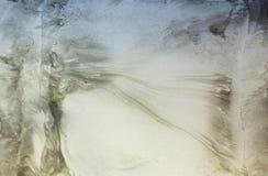 Los modelos biónicos y de la naturaleza grises por la pintura manchan en el papel - marbl Fotos de archivo