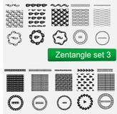 Los modelos del vector de Zentangle y el sistema de cepillos inconsútiles, inconformista monocromático dibujado mano de los marco Imagen de archivo