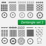 Los modelos del vector de Zentangle y el sistema de cepillos inconsútiles 1, inconformista monocromático dibujado mano de los mar Fotos de archivo libres de regalías