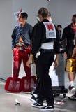 Los modelos en la pista en Sánchez-Kane muestran Imágenes de archivo libres de regalías