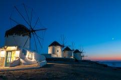 Los molinoes de viento de la isla de Mykonos Imagen de archivo libre de regalías