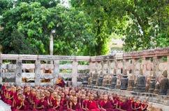 Los monjes y los novatos de Tíbet están en el ritual del budismo Imagen de archivo