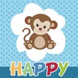 Los monos felices y sonrisa linda Imágenes de archivo libres de regalías