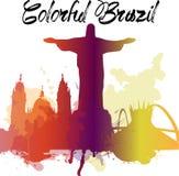 Los monumentos de la diversidad del Brasil, horizonte famoso colorean la transparencia Vector EPS10 organizado en las capas para  stock de ilustración
