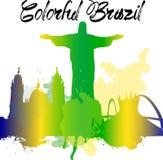 Los monumentos de la diversidad del Brasil, horizonte famoso colorean la transparencia Vector organizado en las capas para correg Foto de archivo libre de regalías