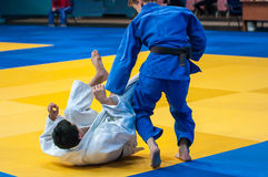 Los muchachos compiten en judo Fotografía de archivo