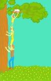Los muchachos consiguen a Cat Out del árbol ilustración del vector