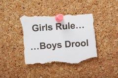 Los muchachos de la regla de las muchachas babean Fotografía de archivo