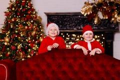 Los muchachos sonrientes en sus sombreros rojos de Papá Noel en el fondo del árbol de navidad foto de archivo libre de regalías