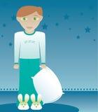 Los muchachos tienen gusto de los deslizadores 2 del conejito stock de ilustración