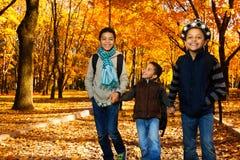 Los muchachos van a la escuela en parque del otoño Imagenes de archivo